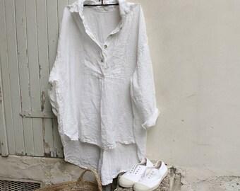 Tuxedo Shirt-linen, white