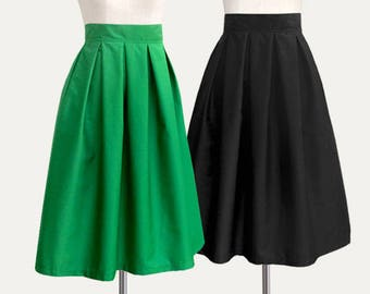 f4927162fa Cotton fully lined pleated mini midi skirt with pockets - custom size and  length high waist skirt in black blue navy green gray plum