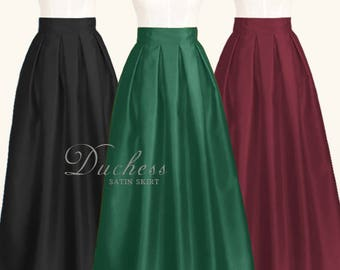 3806d3c40 Duchess satin fully lined pleated long skirt with pockets - custom size  ankle maxi floor length ball gown skirt in black dark green navy red
