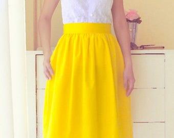 Cotton gathered full skirt with pockets - custom size, length mini knee midi length - black blue navy gray plum green red yellow lavender