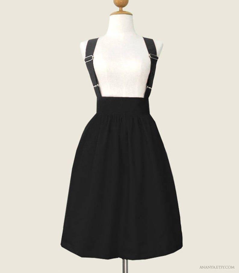538940649c4187 Entièrement doublé coton jupe porte-jarretelles avec bretelles réglables et  poches - mini taille sur mesure à la longueur midi