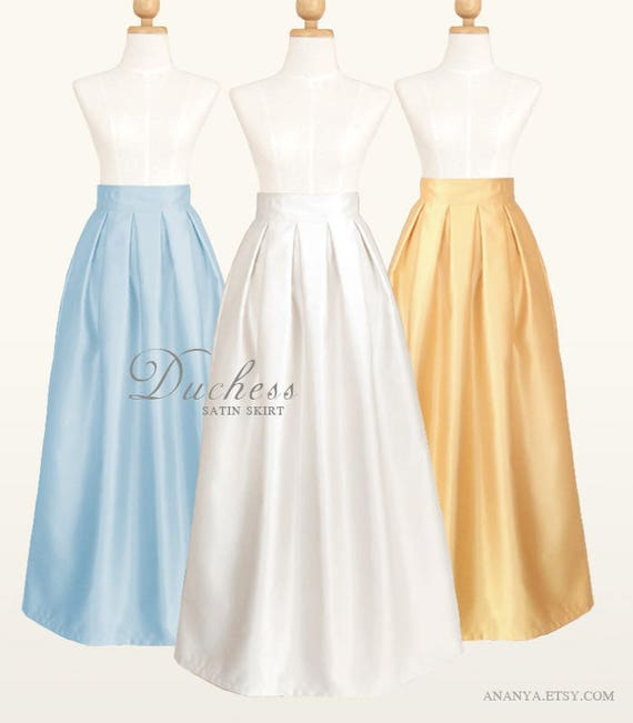 Duchess Satin Fully Lined Pleated Long Skirt With Pockets Etsy