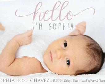 BABY Girl BIRTH ANNOUNCEMENT - Photo Baby Announcement - Baby Boy Announcement - Newborn, Modern, Printable, Digital -