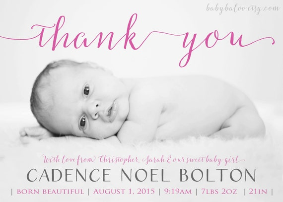 Thank You Birth Announcement Girl Or Boy Photo Baby Etsy