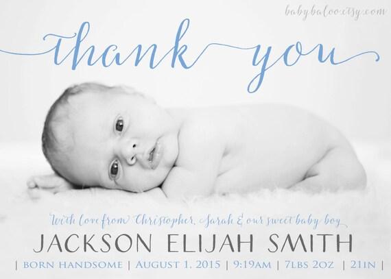 newborn thank you birth announcement boy girl photo baby etsy