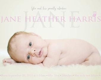 Baby Girl Birth Announcement - Jane Heather - Baby girl Announcement -