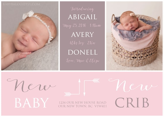 moving birth announcement new baby new crib photo baby etsy