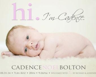 Baby Girl Birth Announcement - Hi BIRTH ANNOUNCEMENT - Photo Baby Announcement - Newborn - Modern - Printable -  Digital -