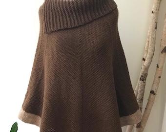 GINGERBREAD CAKE Collar Poncho | Natural Rust Brown Caramel | Alpaca & Wool