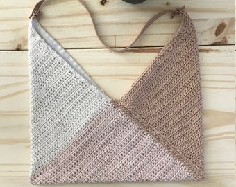 NEAPOLITAN TRIANGLES | Crochet Cotton | Linen Lining | Removable Leather Strap
