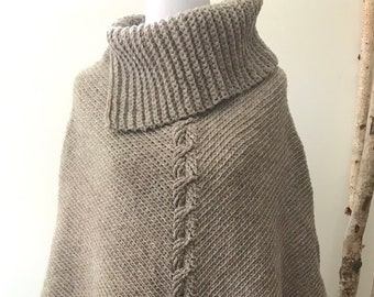 MOCHA LATTE Collar Poncho | Heather Grey Brown | 100% Merino Wool