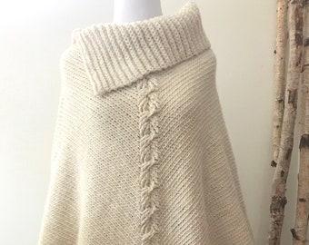 BUTTERCREAM Collar Poncho | Undyed Natural Creamy White | Alpaca & Wool