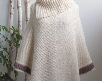 LINZER Collar Poncho | Natural Cream White with Burgundy Heather Border | Alpaca & Wool