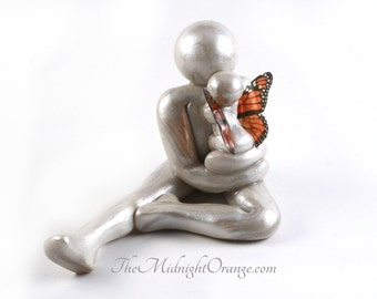 Daddy of an Angel - Father and Baby Angel sculpture - Dad and Daughter or Son - gift for bereaved Father-made to order with any wing color