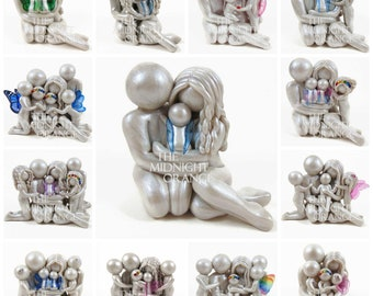 Custom Family Memorial Statue for Pregnancy, Infant and Child Loss - Angel Baby clay sculpture by The Midnight Orange - made to order