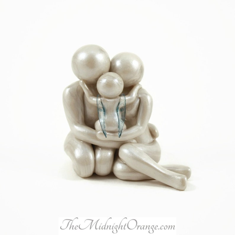 Child Loss Memorial Statue  Mother Father and Child Angel image 0