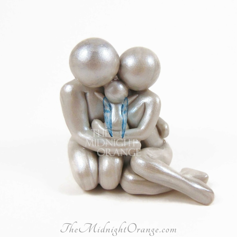 Baby Loss Memorial Statue  Mother Father and Angel Baby clay image 0
