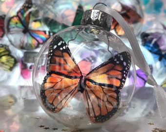 Monarch Butterfly Christmas Keepsake Ornament in glass bauble by The Midnight Orange - you choose color - beautiful memorial gift
