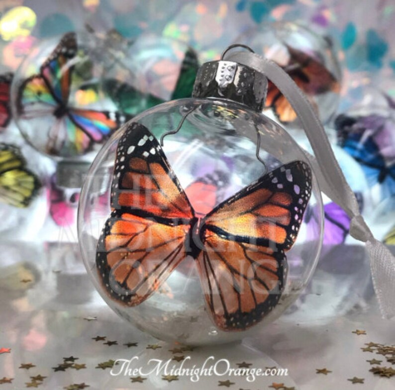 Monarch Butterfly Christmas Keepsake Ornament in glass bauble image 0