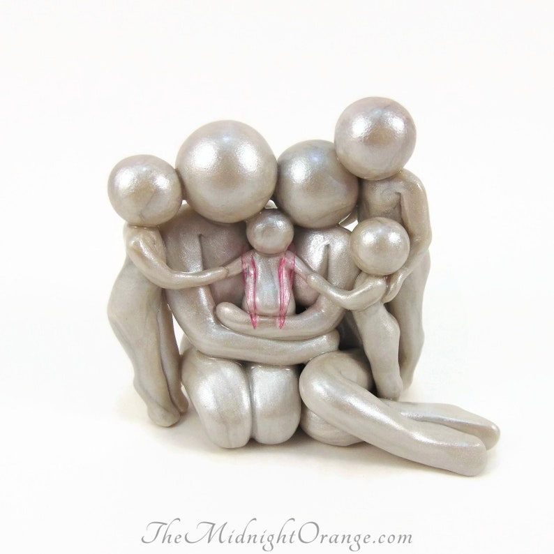 Baby Memorial Family Sculpture  handcrafted loss keepsake for image 0