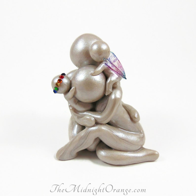 Rainbow Baby Keepsake family sculpture and baby loss memorial With rainbow crown