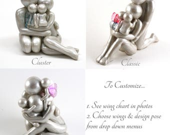 Custom Family of 4 rainbow baby or twinless twins memorial sculpture - Choose from 3 poses and customize wing colors
