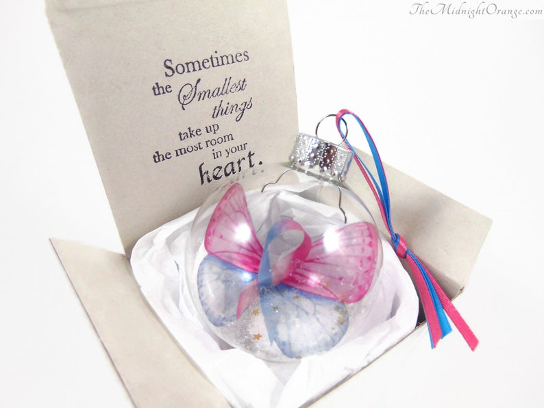 Pregnancy and Infant Loss Awareness Ornament  Pink and Blue The smallest things