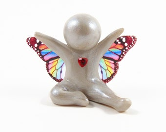 Joyous Heart Baby Angel memorial sculpture with your choice of wings - baby and child loss  keepsake by The Midnight Orange