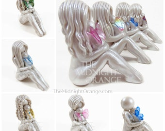 Mother and Baby Angel Child Loss Sympathy Gift for Mom - handmade clay sculpture by The Midnight Orange - made to order