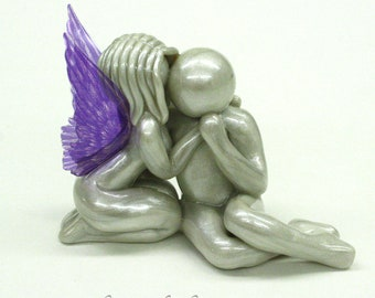 Here Love Remains - Loss of Wife, Fiance, Girlfriend, Mother Sister or Daughter angel sculpture, memorial clay remembrance gift - made to or