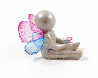 Remembrance Gift for Miscarriage and Child Loss - clay angel baby butterfly sculpture - Go Tell My Family I'm Okay - made to order