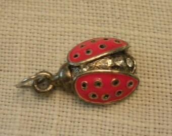 Sweet Little Ladybug Charm with Rhinestones