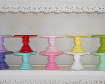 "Wood cupcake or mini cake stand pedestal choose your color  4"" round Dessert stand"