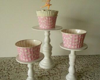 3 varied sizes Mini wood cupcake stands pedestals or cake pop stands SET 3 you choose colors ECS