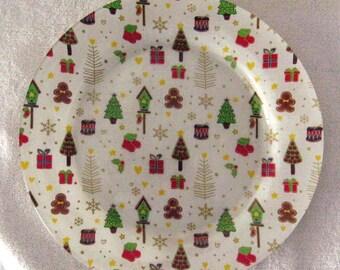 Decorative Decoupage Fabric Backed Christmas  Plate