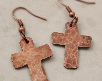 Hammered Copper Cross Earrings