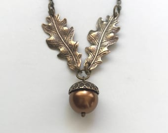 Oak leaf necklace, copper acorn necklace, gold leaf necklace, fall jewelry, pearl acorn pendant, gift her, Botanical Bird original design