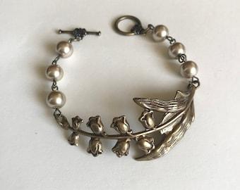 Lily of the Valley Bracelet, flower bracelet, brass cuff, vintage style wedding bracelet, lily of the valley jewelry, Victorian bracelet