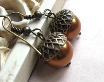 Copper acorn earrings, fall earrings, pearl acorn, fall wedding earrings, acorn jewelry, autumn jewelry, copper earrings, gift for her