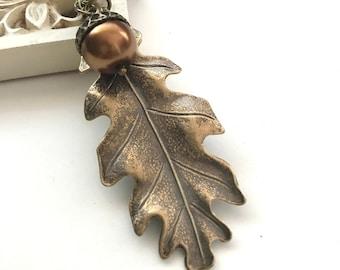 Oak leaf necklace, acorn necklace, large oak leaf pendant, pearl acorn, fall necklace with acorn, color options, long necklace, fall jewelry