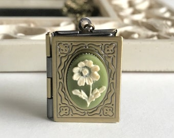 Lily flower cameo necklace, book locket with cameo, nature jewelry, gift for her, vintage cameo locket, green cameo