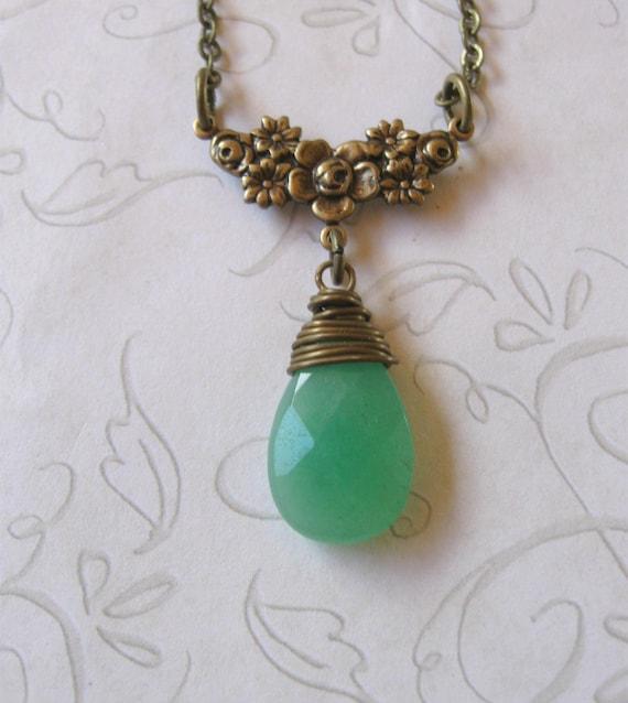 f199eda63e24b6 Green jade necklace pendant teardrop wire wrapped stone   Etsy