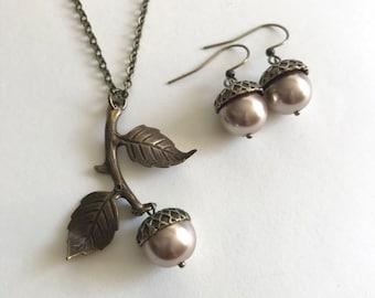 Acorn necklace set, fall necklace, pearl acorn pendant, set of two, brown acorn necklace, copper acorn, Botanical Bird original design