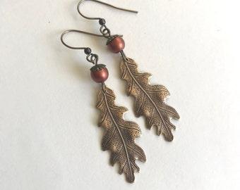 Oak Leaf Earrings, acorn earrings, brass leaf earrings, fall earrings, women's gift, long earrings, gift for her, fall jewelry
