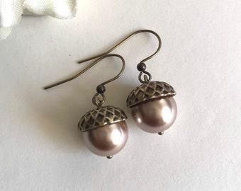 Acorn earrings, pearl acorn, brown acorn, fall jewelry, glass pearls, fall earrings, copper acorn dangles, drop earrings, women's gift