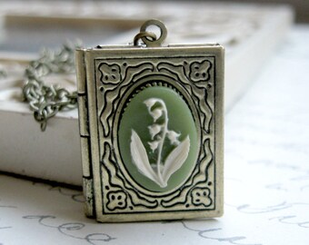 Lily of the valley necklace, flower cameo necklace, book locket with cameo, nature jewelry, gift for her, vintage cameo locket, green cameo
