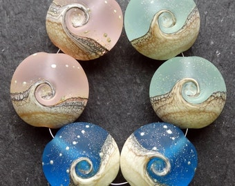 Lampwork Glass Beads Lentils (6) Mix 1 Ocean Waves, Sea, Water