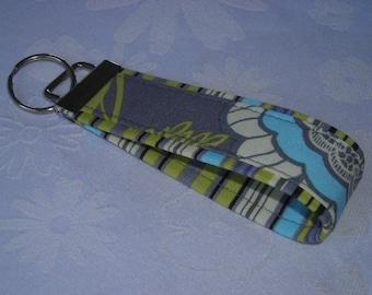 Fabric Key Fobs - Fabric Keychain - Key Wristlet - Key Fob - Gray Lacework N Oxford Stripe