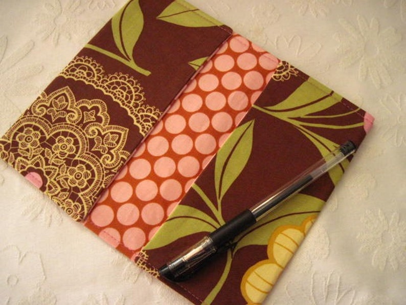 BROWN LACEWORK Limited Edition Designer Fabric Checkbook CoversCoupon Holders