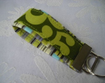 miNi KEY FOBS - Green Wallflower N Oxford Stripe -